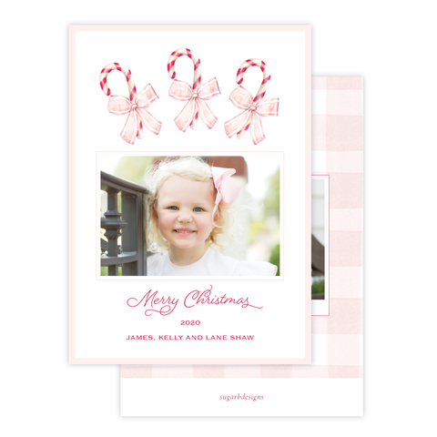 Sweet Treats Pink Christmas Card Portrait