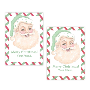 Sassy Santa Red & Green 4 Bar Christmas Gift Tag : DIGITAL DOWNLOAD PRINTABLE TAG