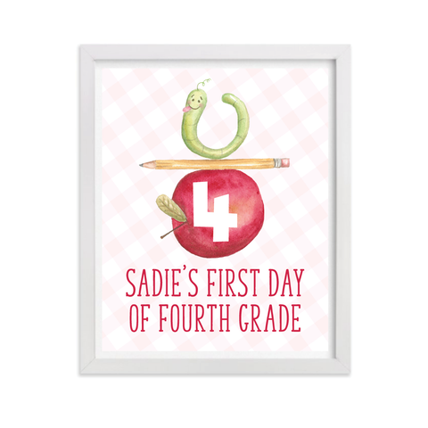Back to School Sign in Pink, Any Grade