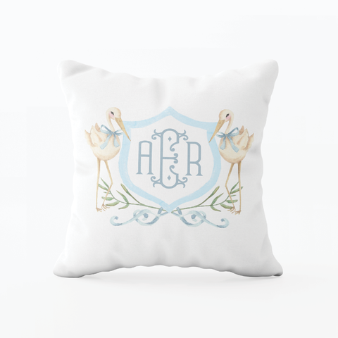 Sebastian Stork Blue Crest Monogram Pillow