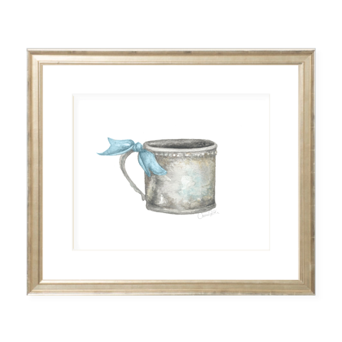 Silver Cup with Blue Ribbon Landscape Watercolor Print