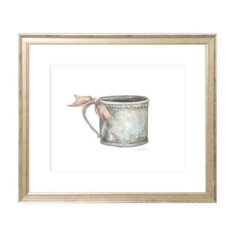Silver Cup with Neutral Ribbon Landscape Watercolor Print