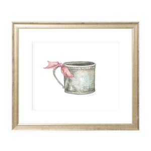 Silver Cup with Pink Ribbon Landscape Watercolor Print