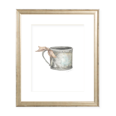 Silver Cup with Neutral Ribbon Portrait Watercolor Print by Sugar B Designs
