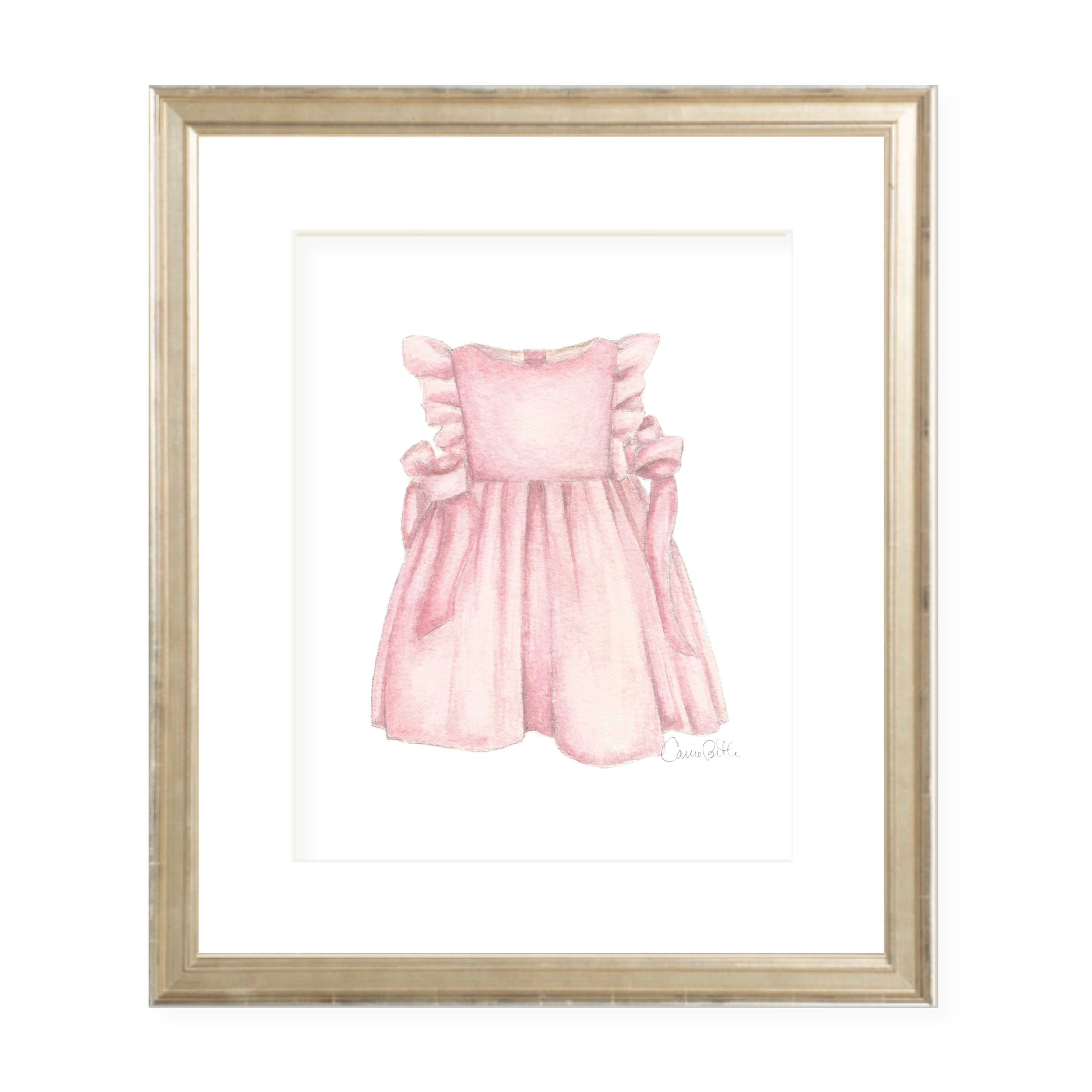 Somerset Dress in Pink Watercolor Print