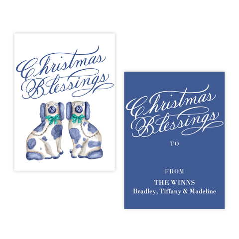 A Staffordshire Pair Blue and Green 4 Bar Christmas Gift Tag