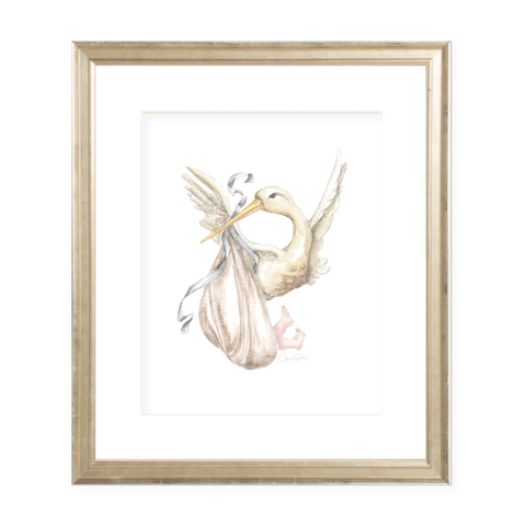 Stanton Stork Neutral Watercolor Print by Sugar B Designs