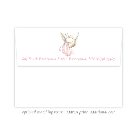Stanton Stork Pink 5x7 Return Address Print