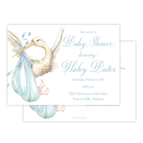 Stanton Stork Blue Baby Shower Invitation