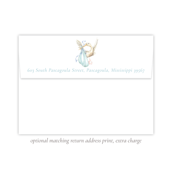 Stanton Stork Blue Fold Over Stationery