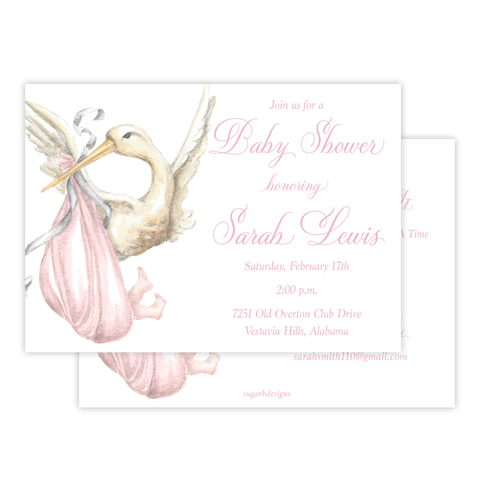 Stanton Stork Pink Baby Shower Invitation