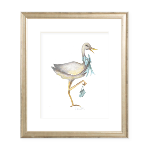 Stork Wearing Blue Bow Watercolor Print