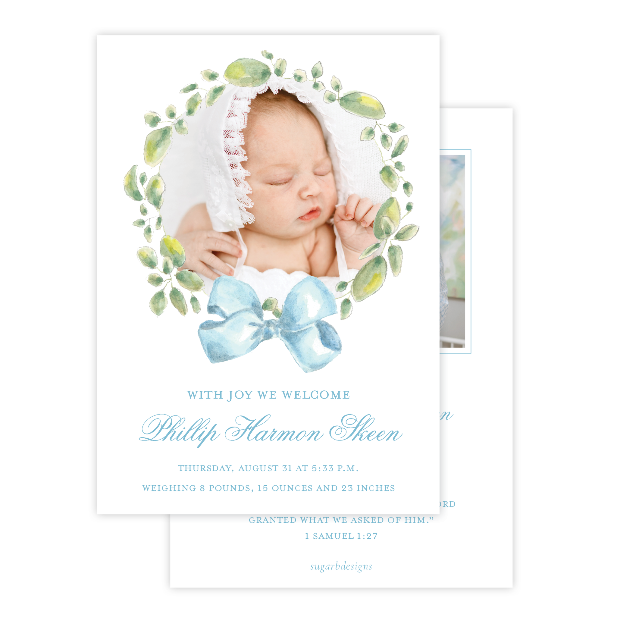 Strathmore Wreath Blue Birth Announcement
