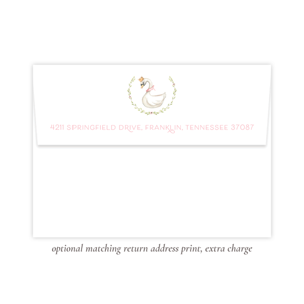 Swan Princess Fold Over Stationery