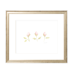 Tea Roses in Pink Landscape Watercolor Print