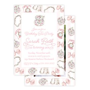 Tea and Pearls Birthday Invitation