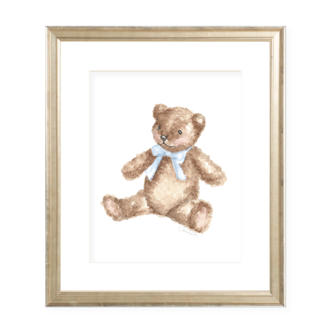 Teddy with Blue Sash Watercolor Print