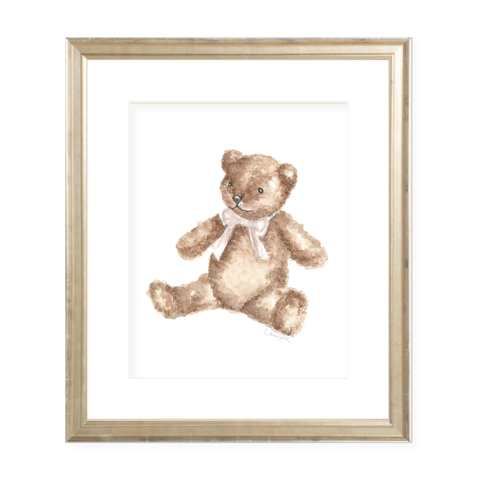 Teddy with Tan Sash Watercolor Print by Sugar B Designs