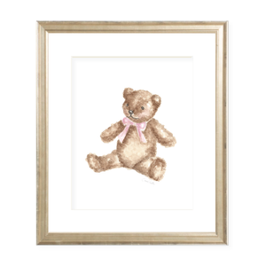 Teddy with Pink Sash Watercolor Print