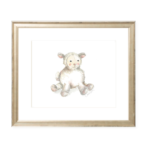 Toy Lamb Landscape Watercolor Print
