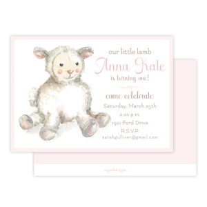 Toy Lamb Pink Birthday Invitation