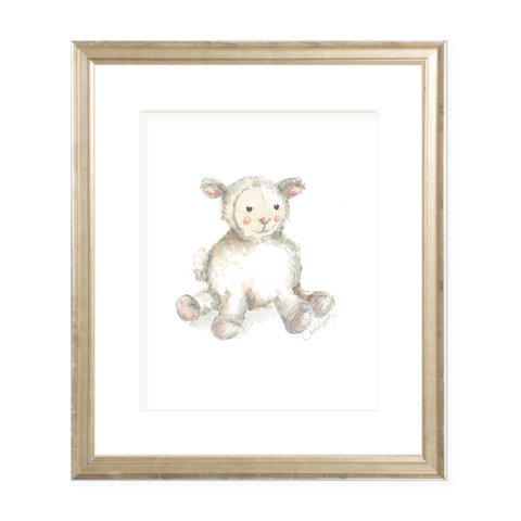 Toy Lamb Portrait Watercolor Print