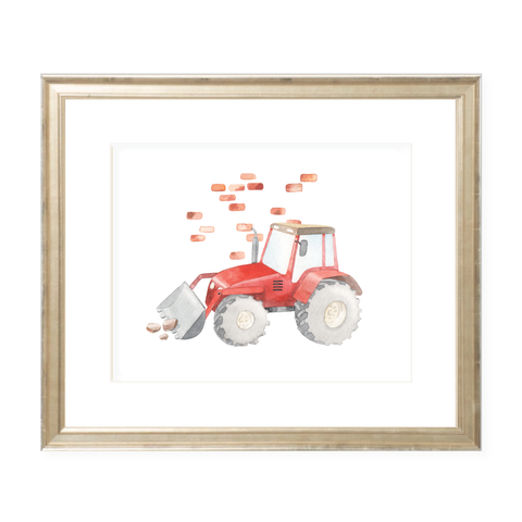 Tractor Landscape Watercolor Print
