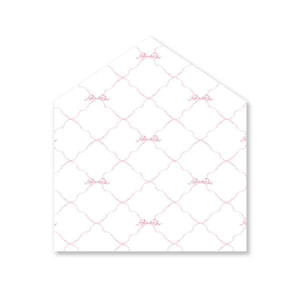 Quita Pink Triumphant Bow Letterpress Fine Paper Fold Over Stationery