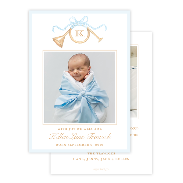 Triumphant Trumpet Blue Bow Birth Announcement Christmas Card
