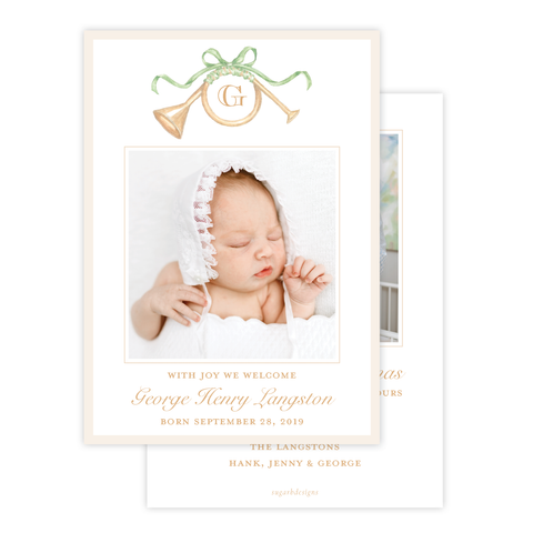 Triumphant Trumpet Green Bow Birth Announcement Christmas Card