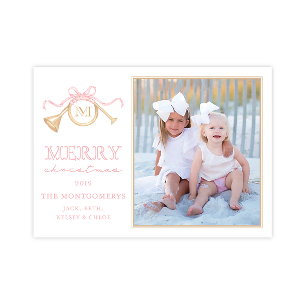 Triumphant Trumpet and Pink Bow Landscape Christmas Card