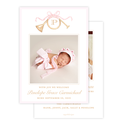 Triumphant Trumpet Pink Bow Birth Announcement Christmas Card