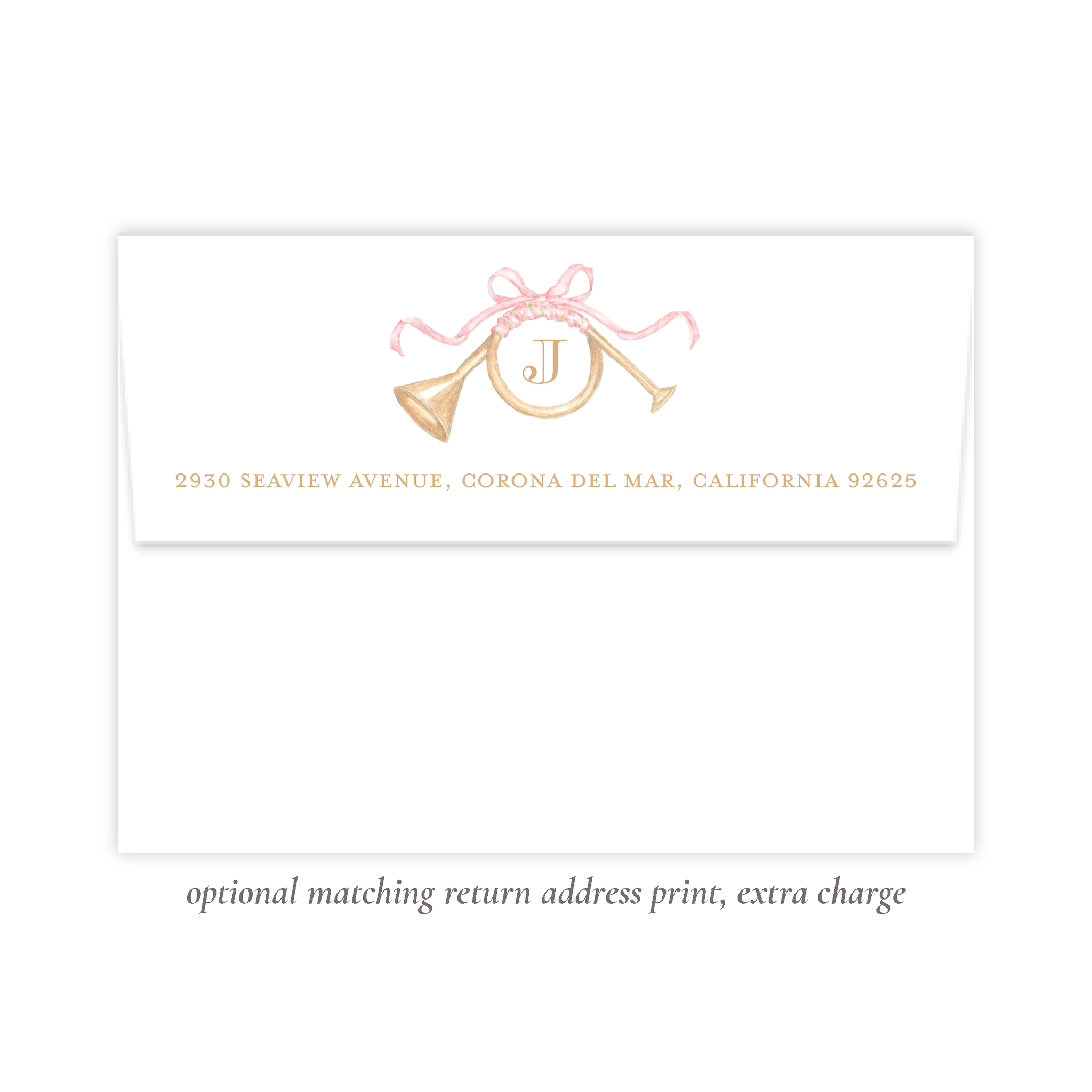 Triumphant Trumpet and Pink Bow Return Address Print