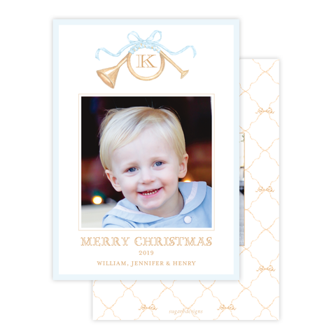 Triumphant Trumpet and Blue Bow Portrait Christmas Card