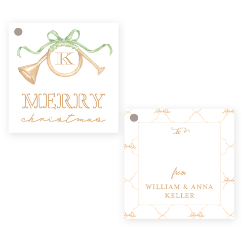 Triumphant Trumpet and Green Bow Square Christmas Gift Tag