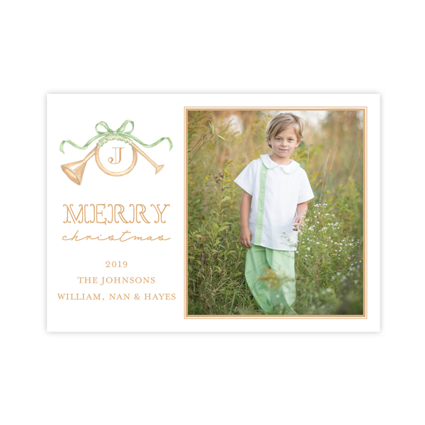 Triumphant Trumpet and Green Bow Landscape Christmas Card