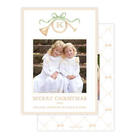 Triumphant Trumpet and Green Bow Portrait Christmas Card