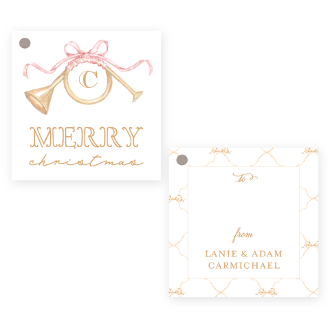 Triumphant Trumpet and Pink Bow Square Christmas Gift Tag