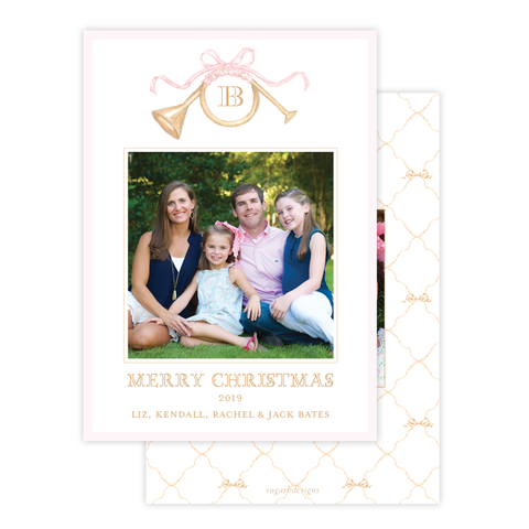 Triumphant Trumpet and Pink Bow Portrait Christmas Card