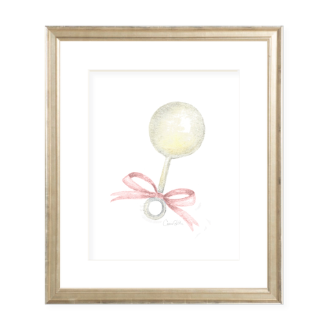 Tucker Rattle Pink Bow Watercolor Print