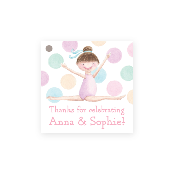 Tumble and Play Brunette Girl Square Party Favor Gift Tag