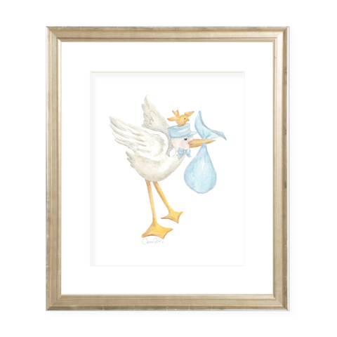 Vintage Blue Stork and Birdie Portrait Watercolor Print