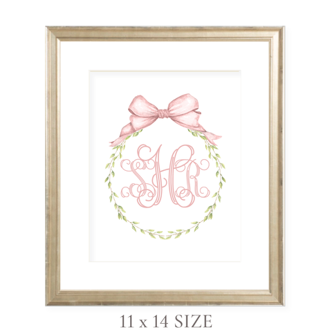 Victoria Wreath Pink Monogram 11 x 14 Watercolor Print