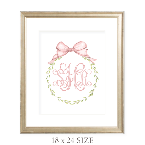 Victoria Wreath Pink Monogram 18 x 24 Watercolor Print by Sugar B Designs