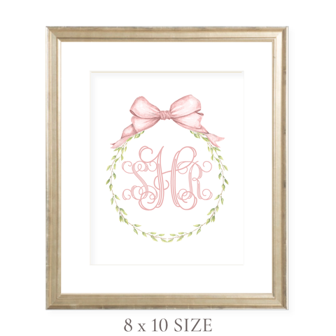 Victoria Wreath Pink Monogram 8 x 10 Watercolor Print by Sugar B Designs