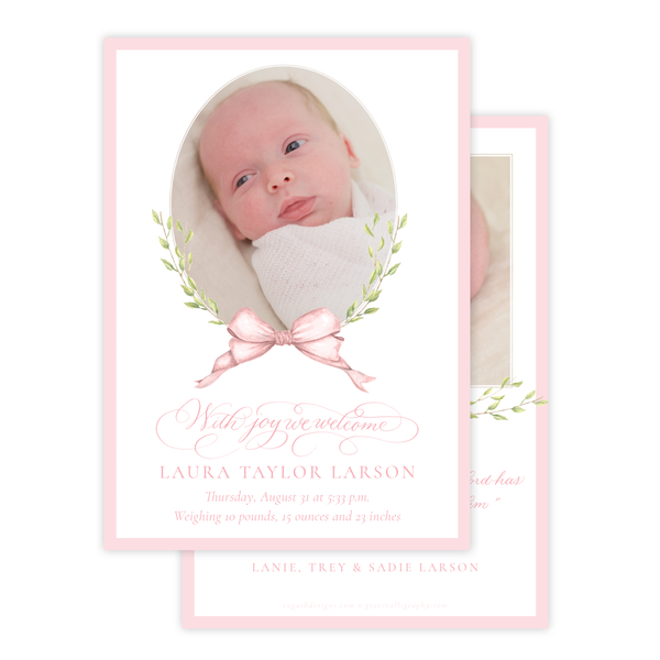 Victoria Pink Birth Announcement
