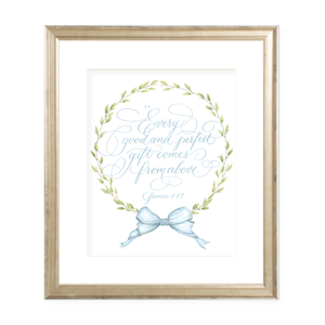 Victoria Blue Watercolor Print by Sugar B Designs featuring Grace Hall Calligraphy