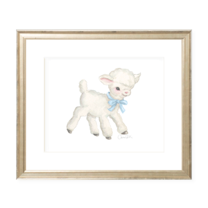 Vintage Lamb in Blue Landscape Watercolor Print