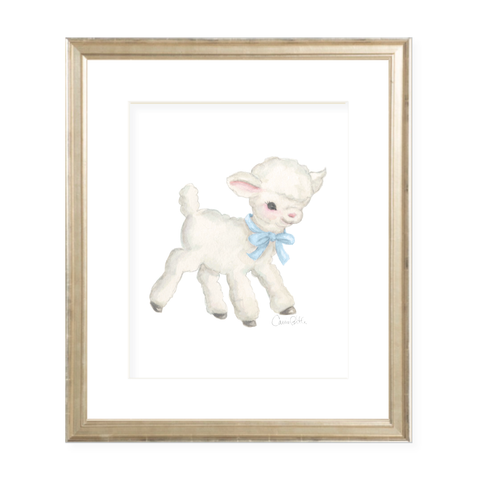 Vintage Lamb in Blue Watercolor Print