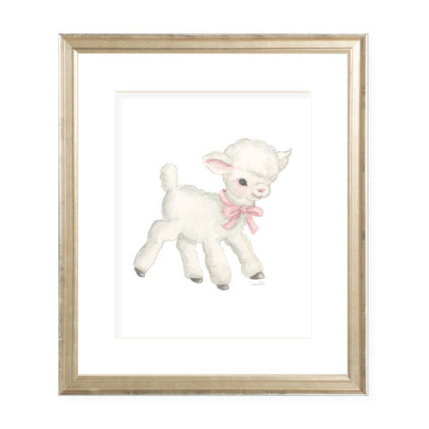 Vintage Lamb in Pink Watercolor Print